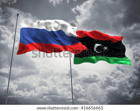 3D illustration of Russia & Libya Flags are waving in the sky with dark clouds  - stock photo