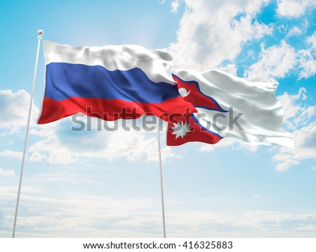 3D illustration of Russia & Nepal Flags are waving in the sky - stock photo
