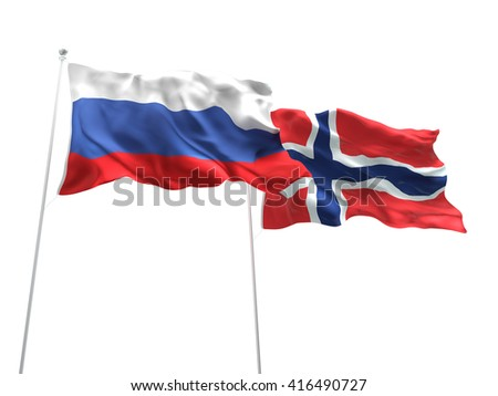 3D illustration of Russia & Norway Flags are waving on the isolated white background - stock photo