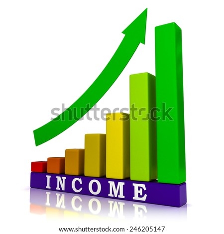3d Illustration of Sales Chart Showing Income Growth Rising Bars - stock photo