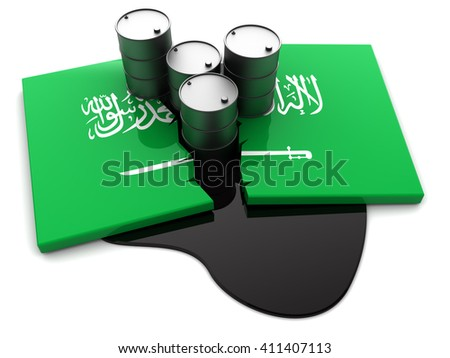 3d illustration of Saudi Arabia flag and oil barrels - stock photo