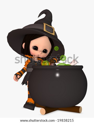 3d illustration of scary little girl in witch halloween costume brewing a potion in cauldron - stock photo