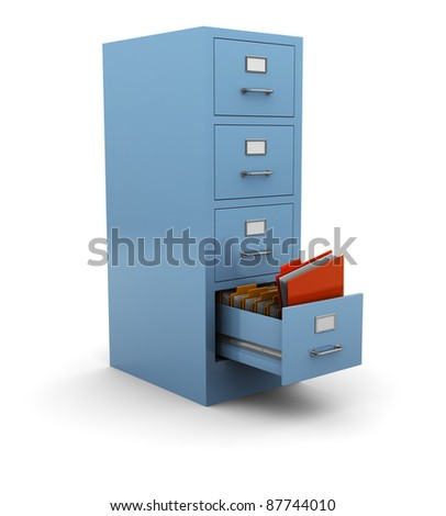 3d illustration of searching folder in drawer - stock photo