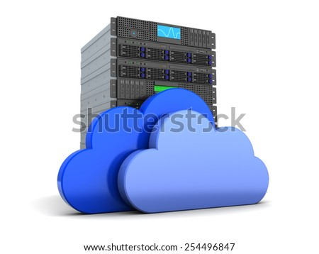 3d illustration of server computer and cloud symbol, over white - stock photo