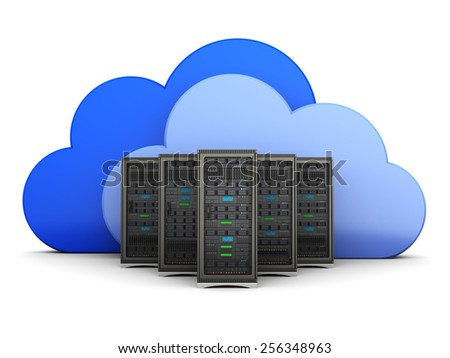 3d illustration of server computers and cloud symbol - stock photo