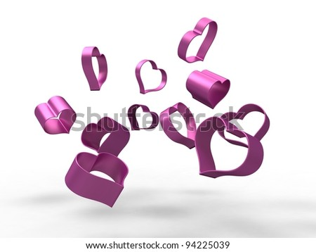 3d illustration of several hollow pink hearts falling on a white background - stock photo