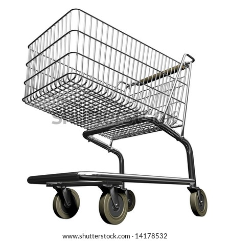 3d illustration of shopping cart - stock photo