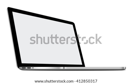 3D illustration of Silver Laptop isolated on white background - stock photo