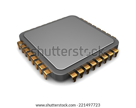 3d illustration of single microchip over white background - stock photo