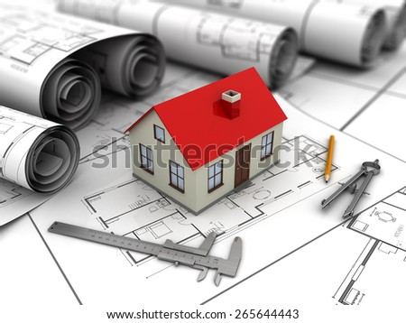 3d illustration of small house blueprints and drawing tools - stock photo