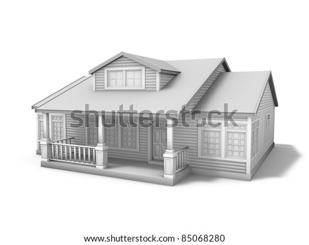 3D illustration of small house on white background - stock photo