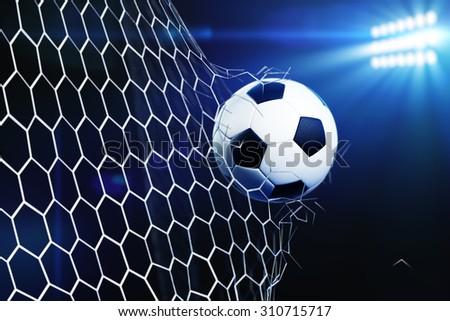 3d illustration of soccer ball tearing and breaking football goal net. Stadium light background - stock photo