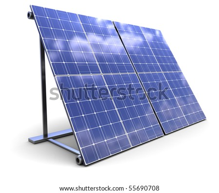 3d illustration of solar panel over white background - stock photo