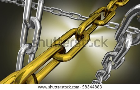 3d illustration of some silver and gold chains on dark background - stock photo