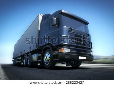 3d illustration of Speeding Transportation Semi Truck driving on highway road - stock photo