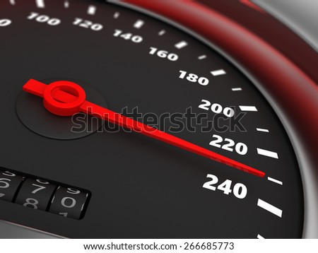 3d illustration of speedometer with danger speed closeup - stock photo