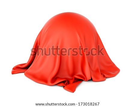 3D illustration of sphere shaped object covered with red satin cloth isolated on white background. Surprise and presentation concept. - stock photo