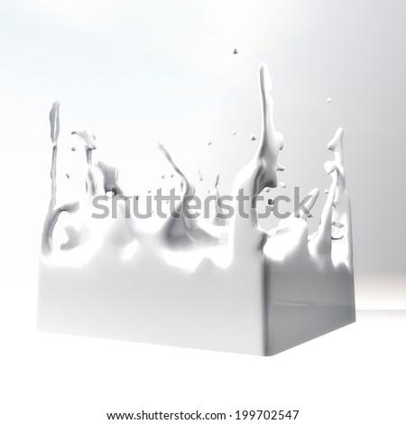 3D Illustration of splashing Fluid - stock photo