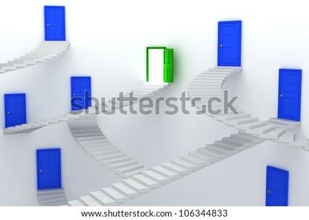 3d illustration of stair leading to door with one open door - stock photo