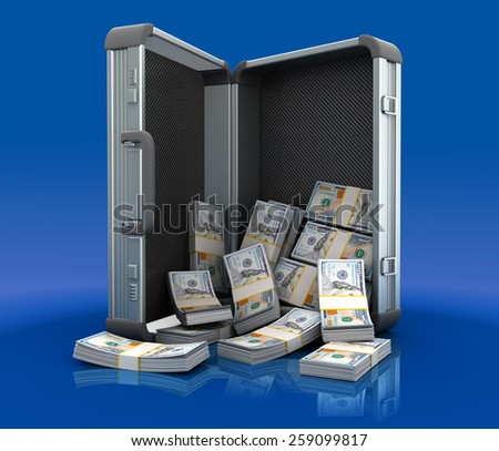 3d illustration of steel case full of money - stock photo