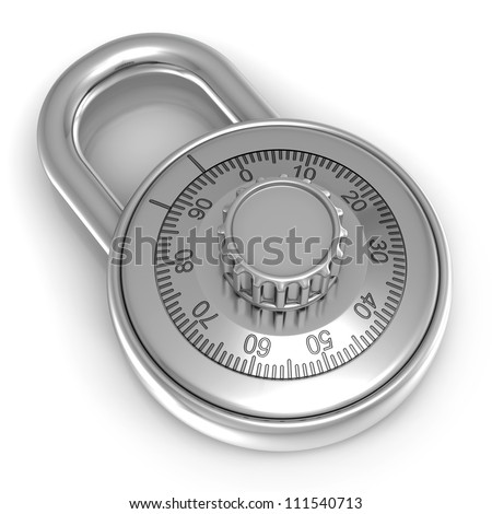 3d illustration of steel combination lock over white background - stock photo