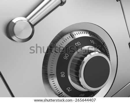 3d illustration of steel safe lock closeup - stock photo