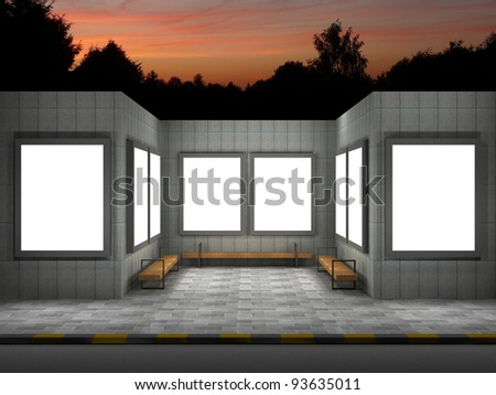 3d illustration of street advertising panels at night - stock photo