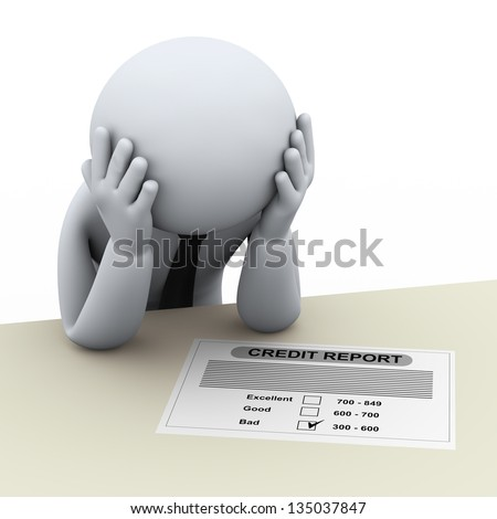 3d illustration of stressed person worried about bad credit report. 3d rendering of people - human character. - stock photo
