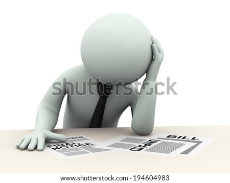 3d illustration of stressed person worried about liabilities, bills, unpaid debts. 3d rendering of people - human character. - stock photo