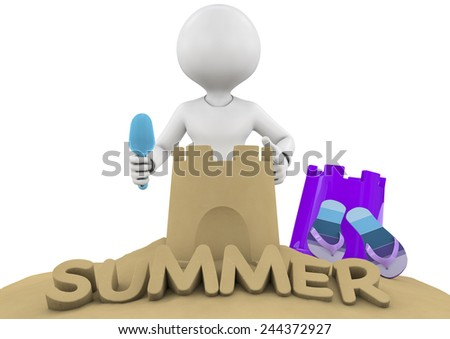 3D Illustration of Summer Text made of Sand and boy  - stock photo