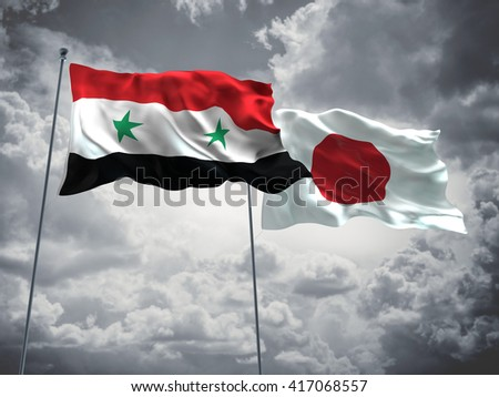 3D illustration of Syria & Japan Flags are waving in the sky with dark clouds  - stock photo