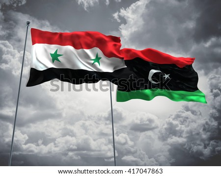 3D illustration of Syria & Libya Flags are waving in the sky with dark clouds  - stock photo