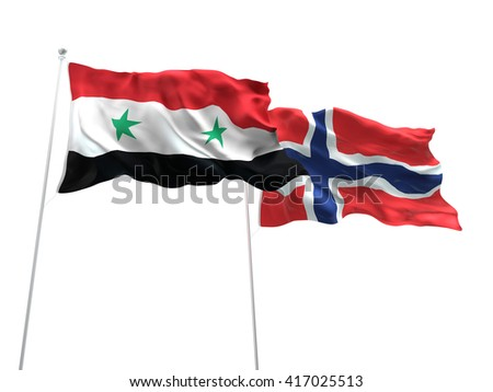 3D illustration of Syria & Norway Flags are waving on the isolated white background - stock photo