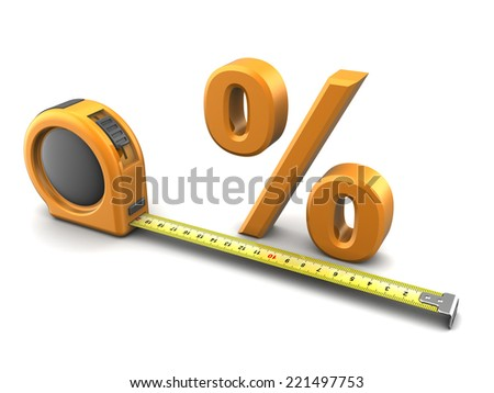3d illustration of tape meter and percent symbol - stock photo
