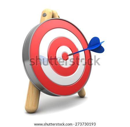 3d illustration of target with dart, over white background - stock photo