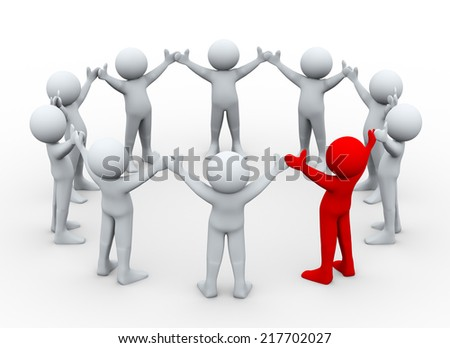 3d illustration of team of man with unique red leader man. 3d rendering of human people character. Concept of leadership, team work, uniqueness - stock photo