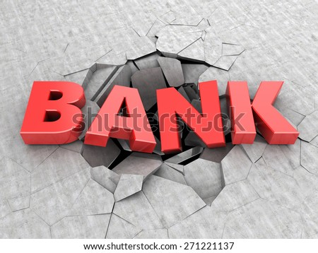 3d illustration of text bank in concrete hole - stock photo