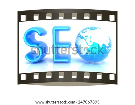 3d illustration of text 'SEO' with earth globe on a white background - stock photo