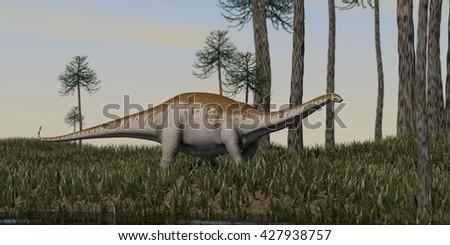 3d illustration of the apatosaurus walking on grass terrain - stock photo