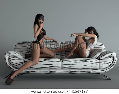 3d illustration of the beautiful asian young women wearing lingerie posing on sofa - stock photo