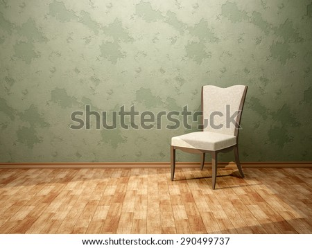 3d illustration of the chair in the room with green walls - stock photo