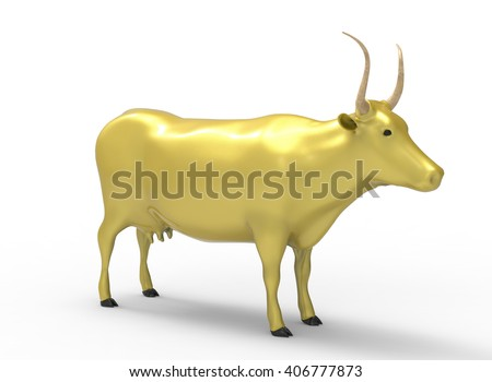 3D illustration of the cow, on white background isolated, with shadow, gold jewelry - stock photo