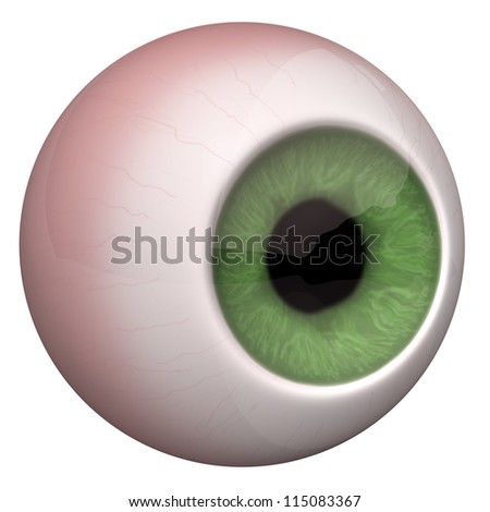 3d illustration of the eye on the white background. - stock photo