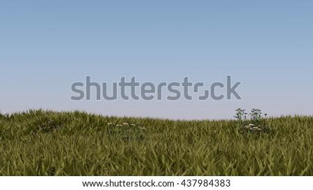 3d illustration of the grass landscape - stock photo