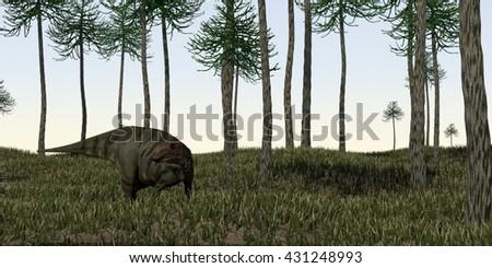 3d illustration of the grazing shuangmiaosaurus - stock photo
