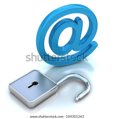 3D illustration of the image of a blue metallic AT symbol open isolated on white. - stock photo