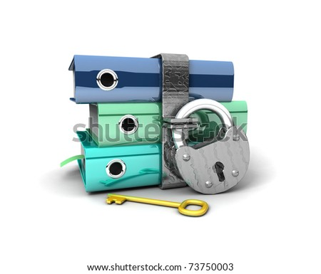 3D illustration of the image of a folder with the lock on a white background - stock photo