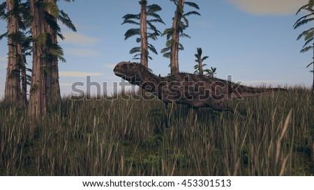 3d illustration of the majungasaurus in grass terrain - stock photo