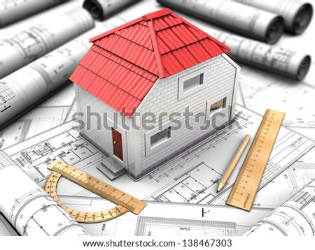 3d illustration of the model house with a red roof, drawings, rulers, pencil - stock photo