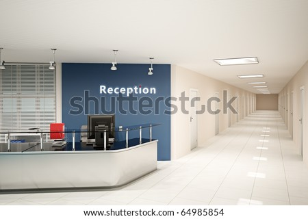 3d illustration of the modern office room - stock photo